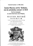 Cover of Joannes Meurcius and his